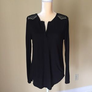 Loft lace shoulder long sleeve top EUC M